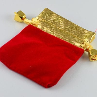 2 High Quality Red With Gold Velvet Gift Bag - (95mmx72mm) 4