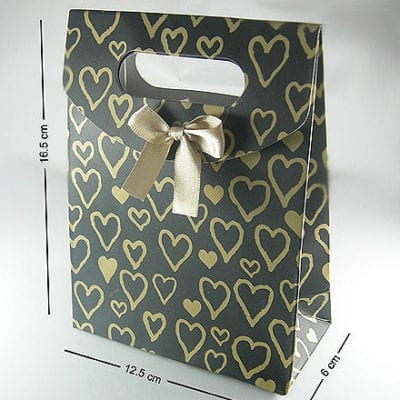 High Quality Black With Gold Hearts Gift Bag 13