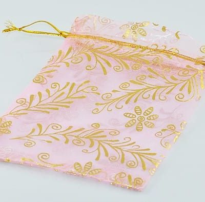 Light Pink with gold floral decoration Organza Bags 16