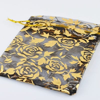 Black with Gold Roses Organza Bags 7