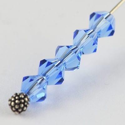 50 Blue Czech AB Fire Polish Bicone Glass Beads - 4mm 3