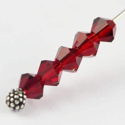 50 Ruby Czech AB Fire Polish Bicone Glass Beads - 4mm 10