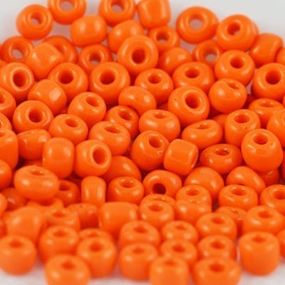 6/0 Orange Lustre Round Glass Seed beads - (10 grams) 6