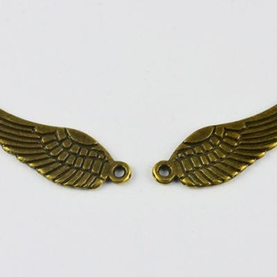 3 Metal Wings Shaped Bronze Charm Beads - 30mm 20