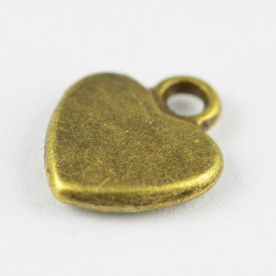 10 All New Love Heart Shaped Metal Bronze Charm Beads - (12mm) 14