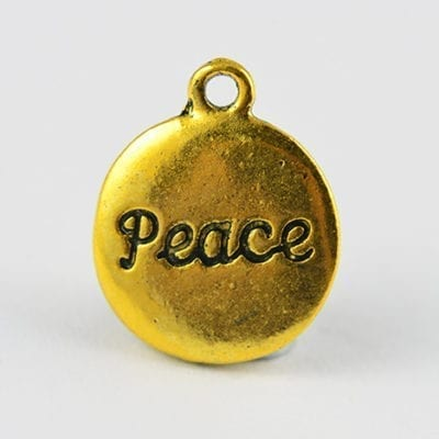 8 Peace Written Coin Shaped Metal Gold Charm Beads - 16mm 13