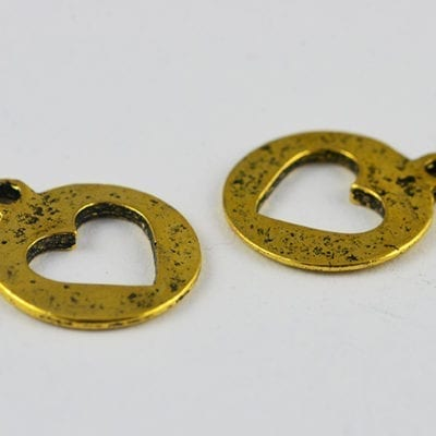 8 Heart Cut Out Coin Metal Antique Gold Charm Beads - 17mm 12