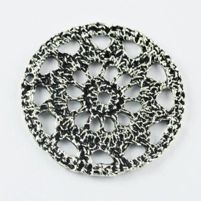 1 Antique Silver Round Metal Charm Pendant Bead (40mm) - M33 4