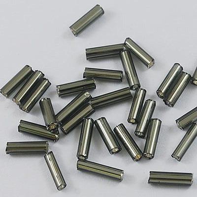"3"" Grey Bugle Glass Seed Beads - (10 grams) 9"