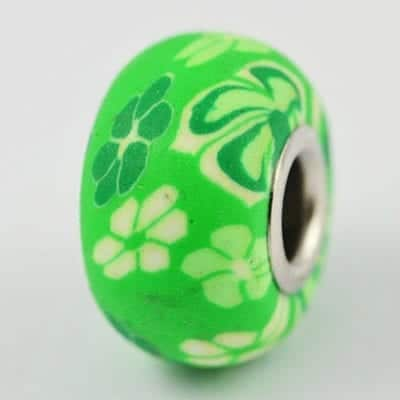 Bright Green With White Flowers Fimo European Beads - (17mm) 10