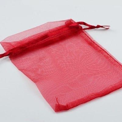 1 Bright Red Organza Bag - (12cm) 1