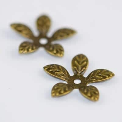20 Floral Antique Bronze Metal Bead Cap - (15mm) - M99 13