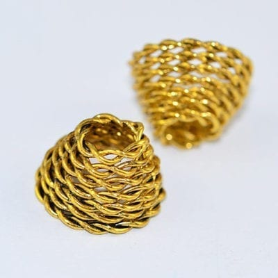 2 High Quality Antique Golden Metal Bead Cones - (15mmx11mm) 11