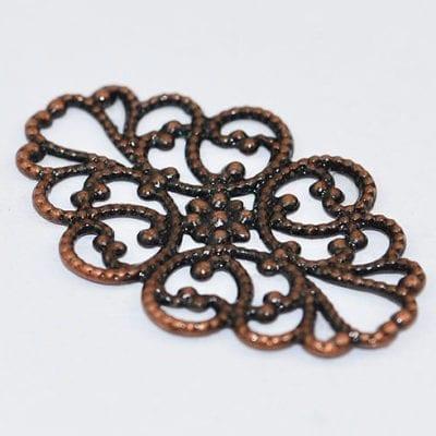 1 Stylish Filigree Antique Copper Metal Bead - (31mmX20mm) 10