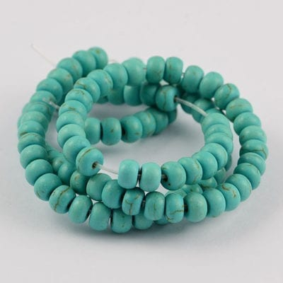 One Strand Turquoise Synthetic Gemstone Beads - 6mm 20