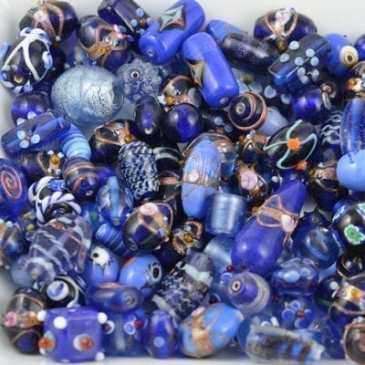 Amazing Colours Of Blue Designer Mix Glass Beads - (50 grams) 19