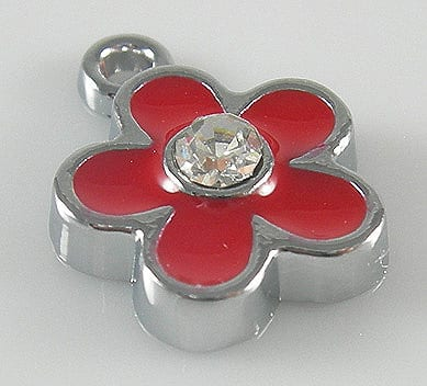 Enamel Alloy Red Charm With Zirconia Crystal - (15mmX12mm) 16