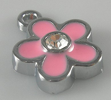 Enamel Alloy Light Pink Charm With Crystal - (15mmX12mm) 10