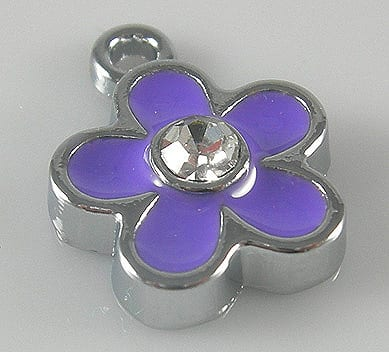 Enamel Alloy Light Purple Charm With Crystal - (15mmX12mm) 12