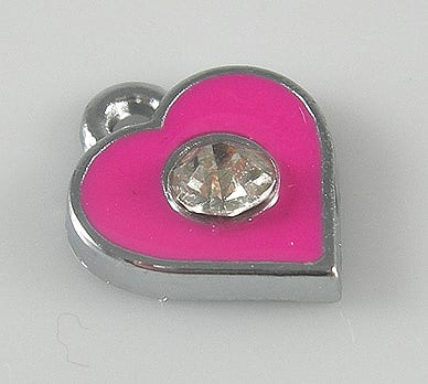 Enamel Alloy Dark Pink Heart Charm With Crystal - (11mmX11mm) 9