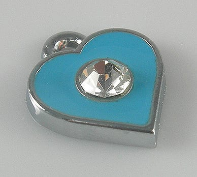 Enamel Alloy Baby Blue Heart Charm With Crystal - (11mmX11mm) 7