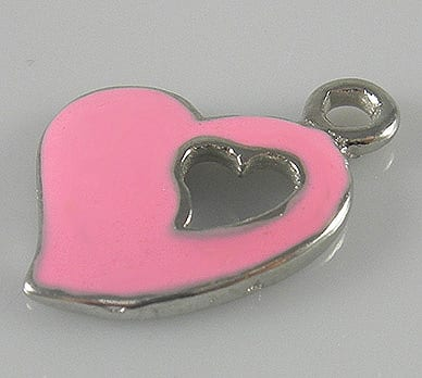 Gorgeous Enamel Alloy Baby Pink Heart Charm - (17mmX12mm) 20