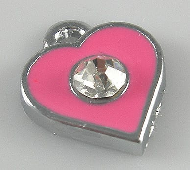 Enamel Alloy Light Pink Heart Charm With Crystal - (11mmX11mm) 11