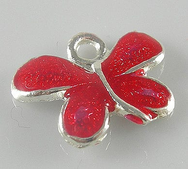 Dazzling New Red Enamel Alloy Butterfly Charm - (22mmX19mm) 6