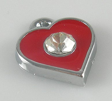 Enamel Alloy Red Heart Charm With Crystal - (11mmX11mm) 17