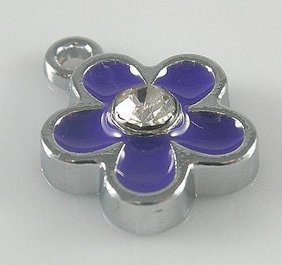 Enamel Alloy Purple Charm With Zirconia Crystal - (15mmX12mm) 15