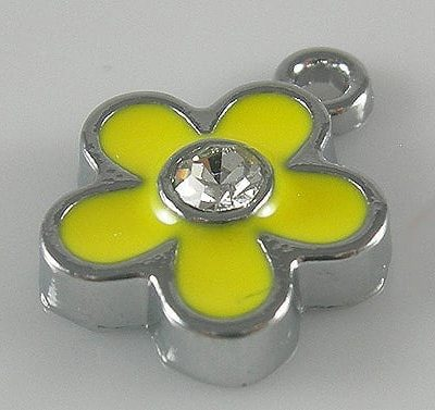 Enamel Alloy Yellow Charm With Zirconia Crystal - (15mmX12mm) 18