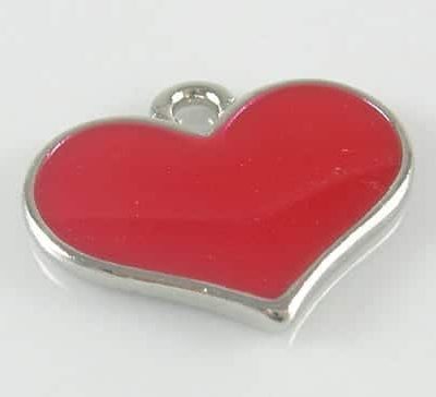 Amazing Enamel Alloy Red Hot Heart Charm - (16mmX19mm) 3