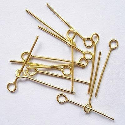 20 New Gold Plated Eye Pins (20mm) 6