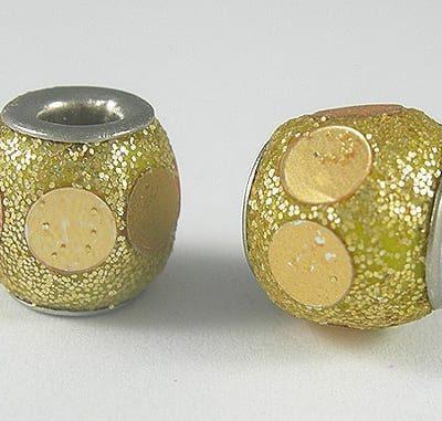 Hand Made Stylish Golden Kashmiri Bead - (10mmX10mm) 18