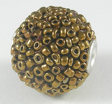 Hand Made Amazing Rustic Gold Color Kashmiri Bead - (17mmX17mm) 8