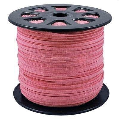 1 Meter Pink Faux Suede Flat Chord - (3mm) 1
