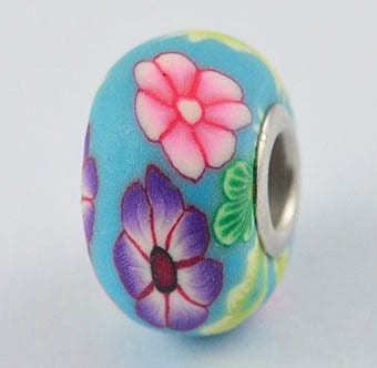 1 Turquoise With Spring Flowers Fimo Clay European Bead - (20mm) 2