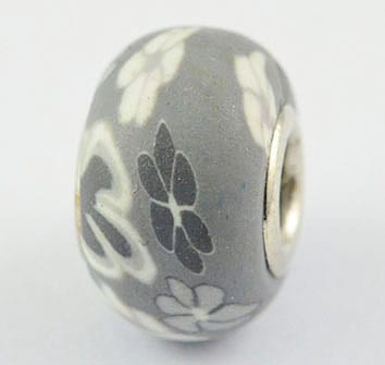 Different Shades Of Grey Fimo Clay European Beads - (20mm) 12