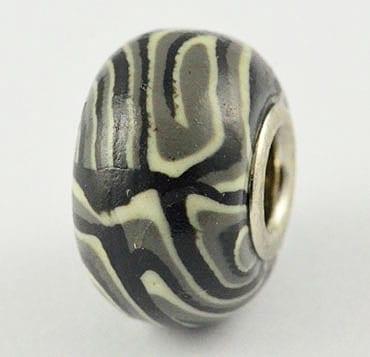 Black & White Fimo Clay European Beads - (20mm) 3