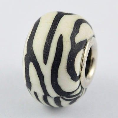 Black & White Fimo Clay European Beads - (20mm) 4