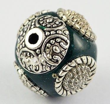 1 Hand Made Kashmiri/Indonesian Dark Sea Green Bead - (16mm) 1