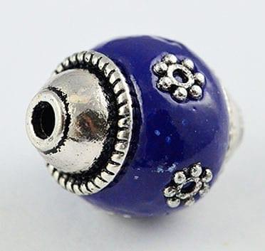 Hand Made Kashmiri/Indonesian Dark Blue Bead - (18mmx15mm) 10