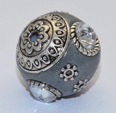 All New Grey Hand Made Kashmiri/Maruti Bead - (18mm) 5