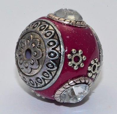 All New Maroon Hand Made Kashmiri/Maruti Bead - (18mm) 7