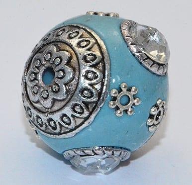 All New Light Turquoise Hand Made Kashmiri/Maruti Bead - (18mm) 6