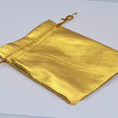 1 Bright Shiny Gold Organza Bag - (12cm) 2