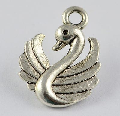 1 Charming Swan Silver Metal Pendant - (17mmx13mm) - M10 10