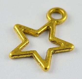 10 Star Antique Gold Charm Beads (15mmx12mm) - M13 18