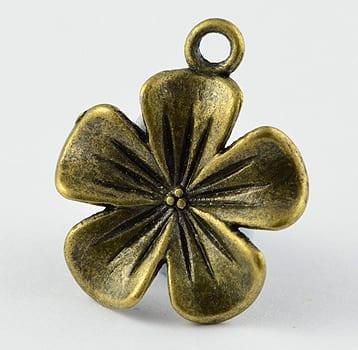 1 Flower Antique Bronze Charm Beads - (24mmx20mm) 4