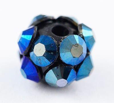 'AB' Midnight Blue Resin Rhinestone Round Bead - (8mm) 12
